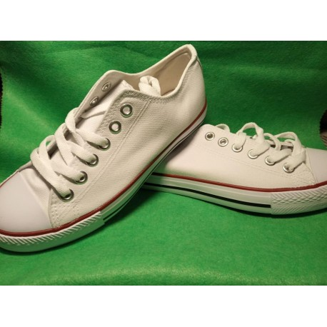 Zapatillas  baja lona blanco sin dibujo